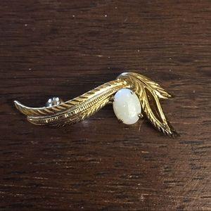 Opal Gold Leaf Brooch